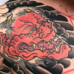 Bright, Hannya tattoo with full background chest plate tattooed by Aaron Hewitt at Cult Classic Tattoo in Romford, Essex just outside of London