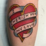 traditional heart and banner baby shambles tattoo, pete doherty quote tattooed in romford, essex at cult classic tattoo