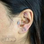 Curated ear with luxury swarovski jewellery by Mala Piercing at Cult Classic Tattoo in Romford, Essex just outside of London