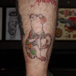 Healed tattoo on a man's calf of a Japanese rat with a Japanese Munewari bodysuit with Maple Leaves and wind by by Tattoo Artist, Harriet Street at Cult Classic Tattoo, Romford, Essex, London