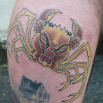 Heike. Japanese crab with the face of samurai, tattooed by Aaron Hewitt at Cult Classic Tattoo in Romford, Essex